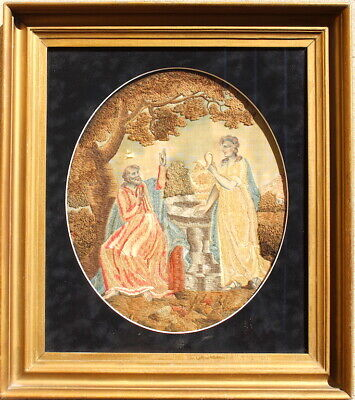 Fine Biblical Embroidered FEDERAL Needlework and Painting Sampler in orig frame