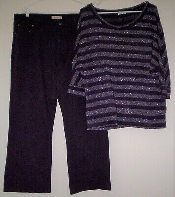 Lovely Crossroads Plum w/ Bling Top & Pair of Plum Straight Leg Stretch Jeans EC