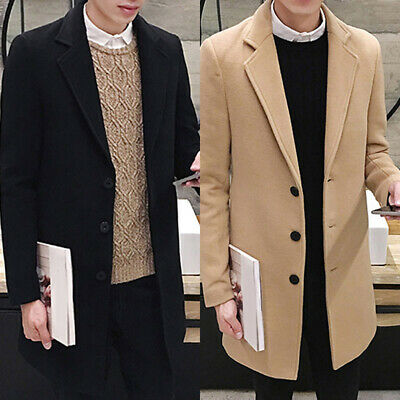Fashion Men Wool Blend Overcoat Winter Fall Warm Turn-down Collar Slim Coat Tops