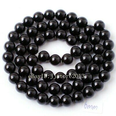 """6mm Smooth Natural Black Agate Onyx Round Shape DIY Gems Loose Beads Strand 15"""""""