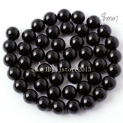 """8mm Smooth Natural Black Agate Onyx Round Shape DIY Gems Loose Beads Strand 15"""""""