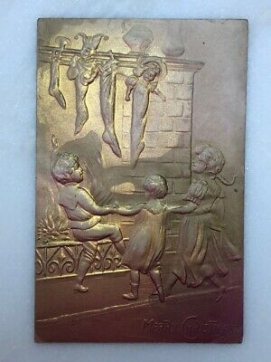 c 1910 CHRISTMAS STOCKINGS Victorian Heavily EMBOSSED Postcard GERMANY Antique