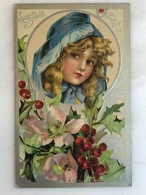 1911 CHRISTMAS Victorian Girl Embossed Postcard ANTIQUE Series 403