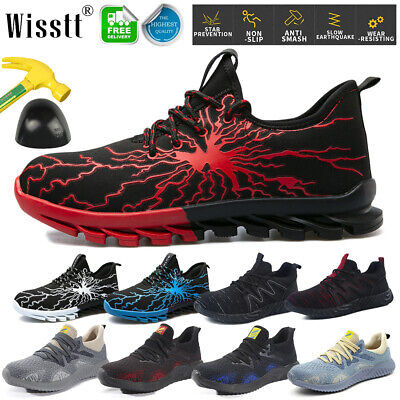 Mens Womens Safety Shoes Lightweight Steel Toe Cap Work Trainers Hiking Boots Uk