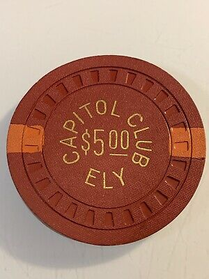 CAPITOL CLUB $5 Warped Casino Chip Ely Nevada 3.99 Shipping