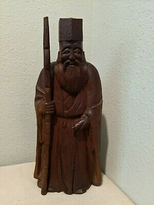 """Signed Old Chinese hand carved wood scholar wiseman Fu figurine approx 17""""H"""