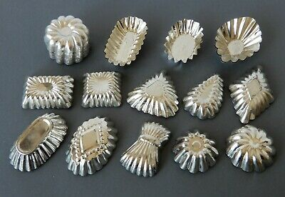 Vintage Antique 37x SMALL FLUTED BAKING TINS Chocolate Moulds PATISSERIE/TART