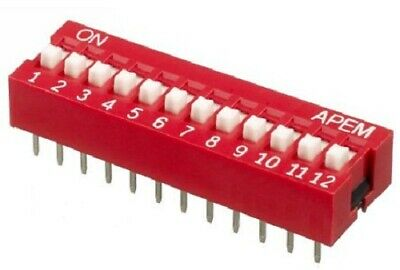 Apem DIP SWITCHES 14Pcs 25mA 12-Positions SPST Through Hole, Raised Actuator
