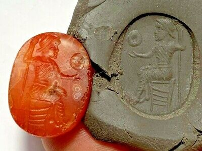 RARE ANCIENT GREEK CIRCA 300-100 BC INTAGLIO CARNELIAN STONE SEAL 6.9gr 25.0mm