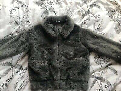 Girls Next Grey Faux Fur Jacket Coat Age 9 Years