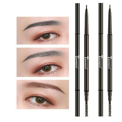 Super Fine Eyebrow Pencil with Brush Dual Ended Automatic Rotate Brow Tattoo Pen