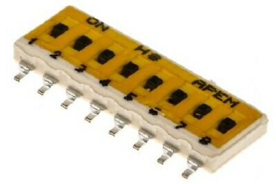 Apem DIP SWITCH 100mA 8-Way Surface Mount, Slide, Gold Plated Beryllium Copper