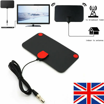 Mini Thin Digital HDTV Indoor Freeview Antenna TV Aerial Amplifier 50 Mile Use