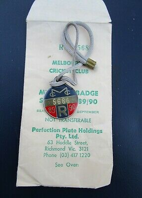 Vintage Mcg Mcc Members Badge Pass New Old Stock 89 90 Envelope Rare