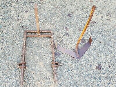 Wolesley Merry Tiller tool bar with double hoe and 2 tool clamps.