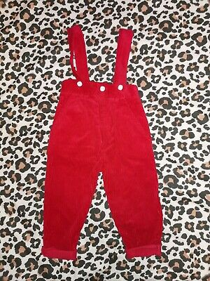 Vintage Red Corduroy Dungarees Age 1