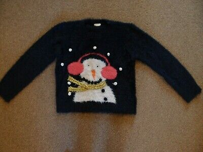 Girls NEXT Christmas Winter Festive Snowman soft fluffy jumper AGE 8