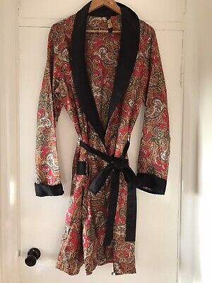 """Vintage Paisley Tricel St Michael Smoking Jacket Dressing Gown Robe- 46"""" Chest"""