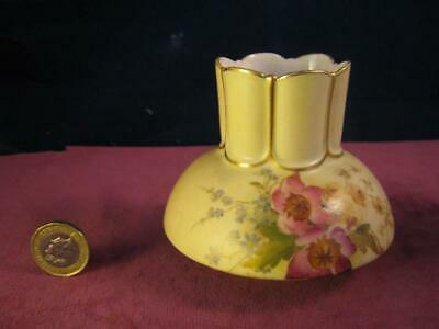 Antique Royal Worcester Blush Ivory Vase  Hand Painted Flowers 991 Dated 1907