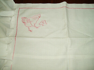 Vintage Hand Embroidered Cot Sheet & Pillow Case