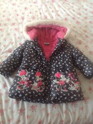 childrens ( girls ) fleece lined hooded minnie mouse coat 2/3 year