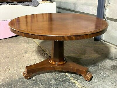 Antique Victorian walnut folding breakfast dining table flip-top carved pedestal