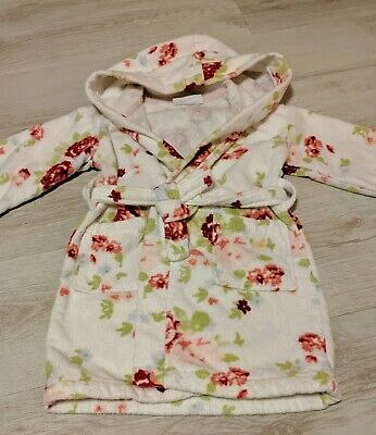 The Little White Company Floral Dressing Gown - Age 2-3 Years - 100% Cotton