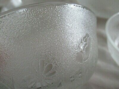 Vintage French Glass Bowls 1 Large & 7 Smaller Frosted & Floral
