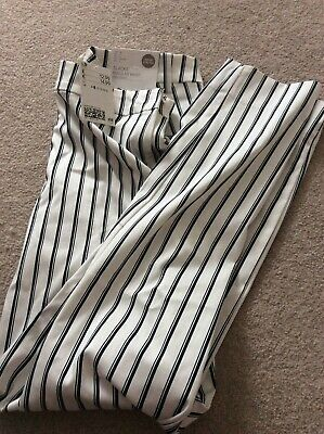 H&M Ladies Navy & White Stripey Trousers Size 8 New With Tags
