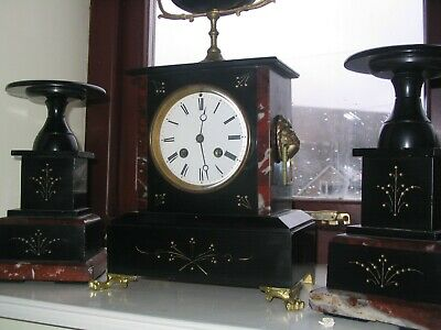 Fully Working Antique slate and marble japys freres mantel clock with garniture