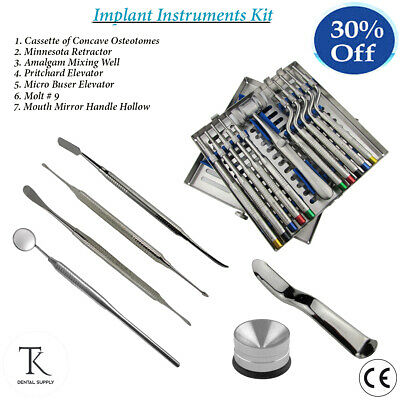 Dental Cassette Of Offset Osteotomes Periosteal Elevators Implants Surgery Kit