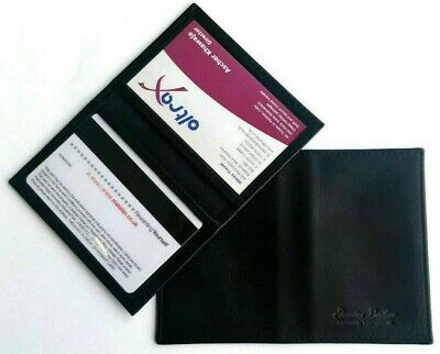 Soft Black Credit Card Travel Pass Oyster ID Holder Genuine (Cow) Leather