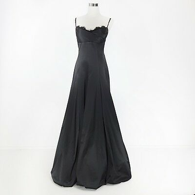 Moss & Spy Dress Gown Black Size 10 M Lace Satin Long Mother Of The Bride Groom