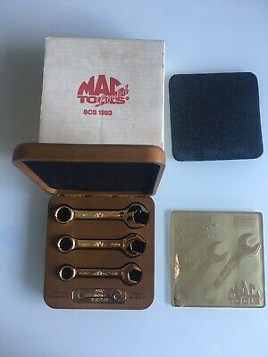 Mac Tools Limited Edition Gold Plated 3 Piece Stubby Spanner Set 1993