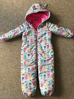 Girls Animal Patterned Fleece Lined Snowsuit from NEXT Age 3-4 Years WORN ONCE