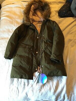 Girls Zara Green Feather Parker With Labels Age 10
