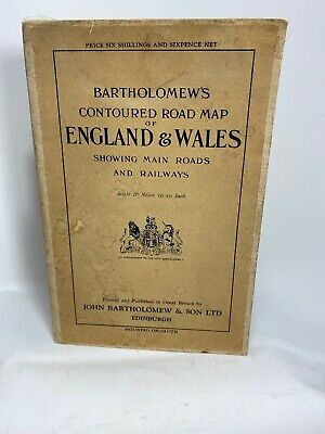 Antique Bartholomew's Road Map Railways England & Wales Cloth Mounted Tenth Inch