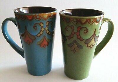 Coffee Cup Ceramic Mug, 16-Ounce Blue and Green Set of 2 Reactive Glaze Brown
