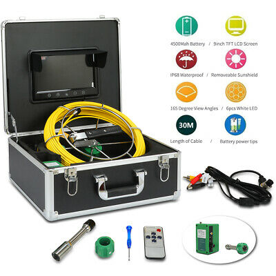 "30M Sewer Waterproof Camera Pipe Pipeline Drain Inspection System 9"" LCD"