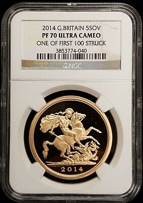 2014 Great Britain UK British Proof Gold 5 Sovereign NGC PF70 UC 1 of First 100