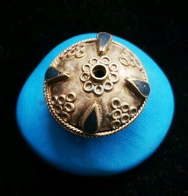 FANTASTIC MEDIEVAL SILVER BEAD WITH RARE LAPIS LAZULI STONES 23. 99mm 4.4gr