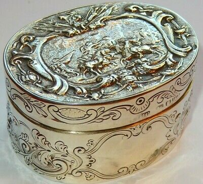 english solid silver table snuff box with battle scene lid heavy h/m london 1787