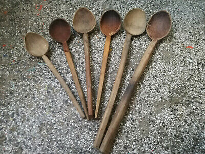 Old Antique Primitive Hand Carved Wood Wooden Kitchen Spoons Tools Set Of 6