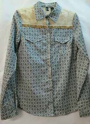 BKE BOUTIQUE Ladies M Gold/Black Long Sleeve Blouse Embroidery & Sparkle I-19
