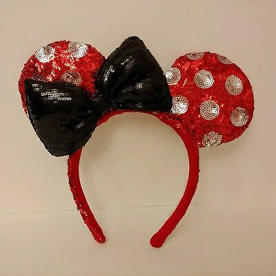 Disney Parks Minnie Mouse Ears Polka Dot Red Silver Black Bow Sequin Headband