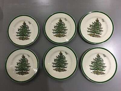"Spode Christmas Tree Side / Tea Plates 7 3/4"" (x6) - Very Good Condition."