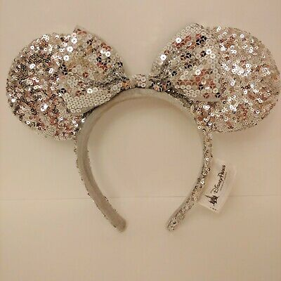 Disney Parks Silver Minnie Mouse Ears Headband with Bow All Full Sequins