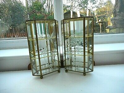 Pair Glass & Gilt Display Cabinet/Case Flower Decoration Mirror Back 3 Tiers