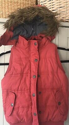 Girls Fat Face Body Warmer Gillet Pink With Detachable Hood - 8-9 Yrs