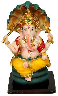 """Ganesha Statue 8"""" Ganesh on a Snake Throne giving Blessings (Y118)"""